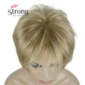 Image 5 - StrongBeauty Short Layered Blonde Thick Fluffy Full Synthetic Wig Heat Ok