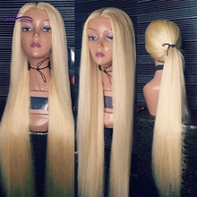Wicca Fashion Full Blonde 613# Color Brazilian Remy Human Hair Lace Wigs Density 130% 150% Straight Wig