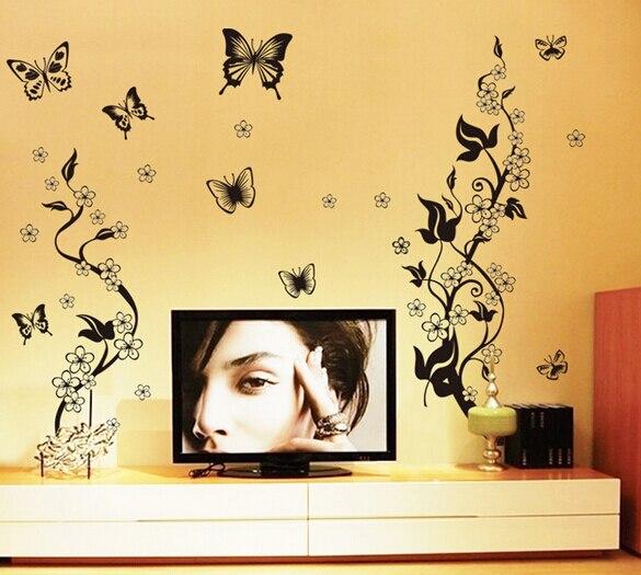 autocollant freska crni leptir vino cvijet naljepnica za zid kupatilo - Kućni dekor - Foto 2