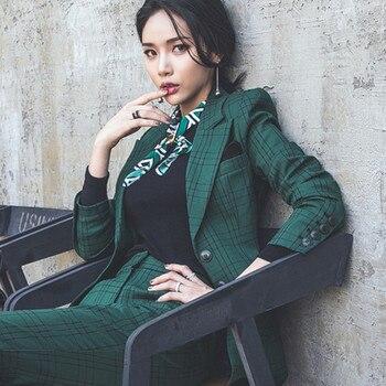 Trajes formales para mujer, conjunto de 2 piezas, Otoño Invierno 2020, chaqueta de trabajo a cuadros con una hilera de botones y pantalón de negocios