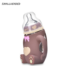 240ml Baby Silicone PP Milk Feeding Bottle Width Mouth Adjust Water Cup Hand Holder Shatter Proof Milk Bottles christmas gift(China)