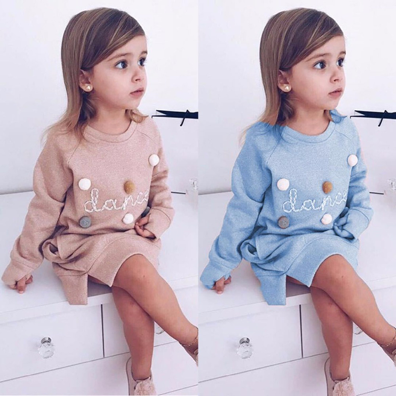 Children Dress 2018 Autumn European and American Style Girls Pattern Pocket Long-Sleeve Dress For 2-6Y Baby Clothes Kids Dress batwing sleeve pocket side curved hem textured dress