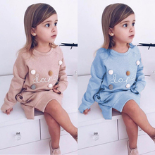 Children Dress 2018 Autumn European and American Style Girls Pattern Pocket Long-Sleeve Dress For 2-6Y Baby Clothes Kids Dress