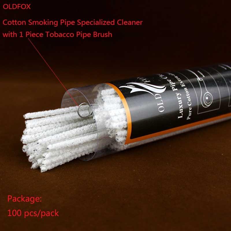 OLDFOX 100 st / pack Regelbundna långa bomullsrökrör Specialiserade rengöringsmedel för luftpassage / rök med en metallpipborste fb0010