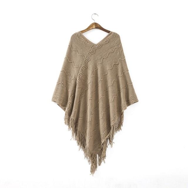 Для женщин Batwing мыс v-образным вырезом пуловер кисточкой Пончо трикотажный топ Высококачественный свитер пальто куртка осень-зима