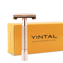WEISHI Brand Mens Classic Manual Short Handle Razor Double-sided Razors Rose Gold Travel Portable #9306G