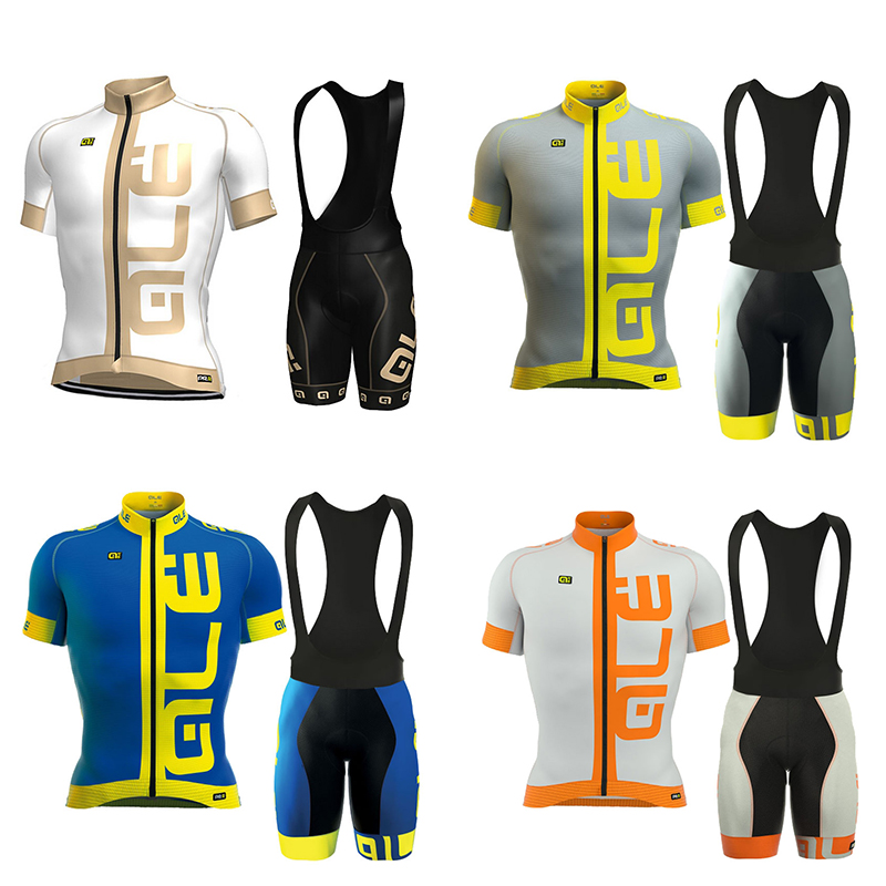 2017 Pro Team ale Cycling Jersey short sleeve shirts bib pants 9D GEL PAD set Ropa Ciclismo summer Bicycle Cycling Clothing F235