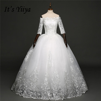 It's YiiYa Off White Half Sleeve Boat Neck Sales Bride Gowns Appliques Charming Lace Up Plus Size Simple Wedding Frock HS270