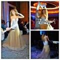 Moda Myriam Fares concierto de música manga larga escarpada del cuello champán Tulle Crystal vestidos noche