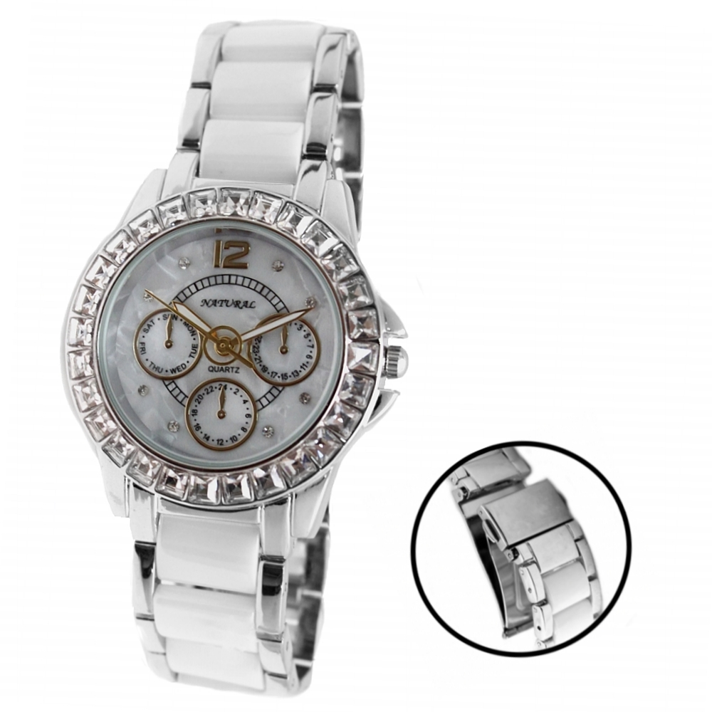 ALEXIS Brand White Dial Silver with White Ceramic 30M Water Resistant Elegant Crystal Ladies AAA Bracelet Watch Women 2017