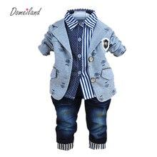 2017 nouvelle mode bébé hiver vêtements pour 3 pcs garçon vêtements costumes avec polo chemises coton jeans pantalon ensembles