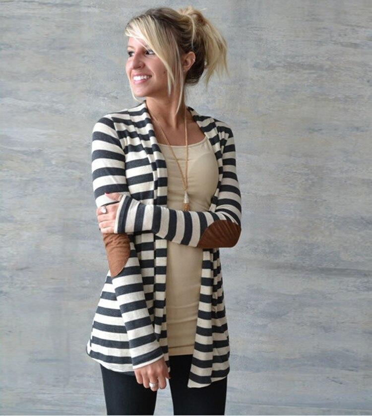 Nové módní ženy jaro podzim styl bunda pruhovaný svetr s dlouhým rukávem bavlněné oblečení topy dívčí kabát