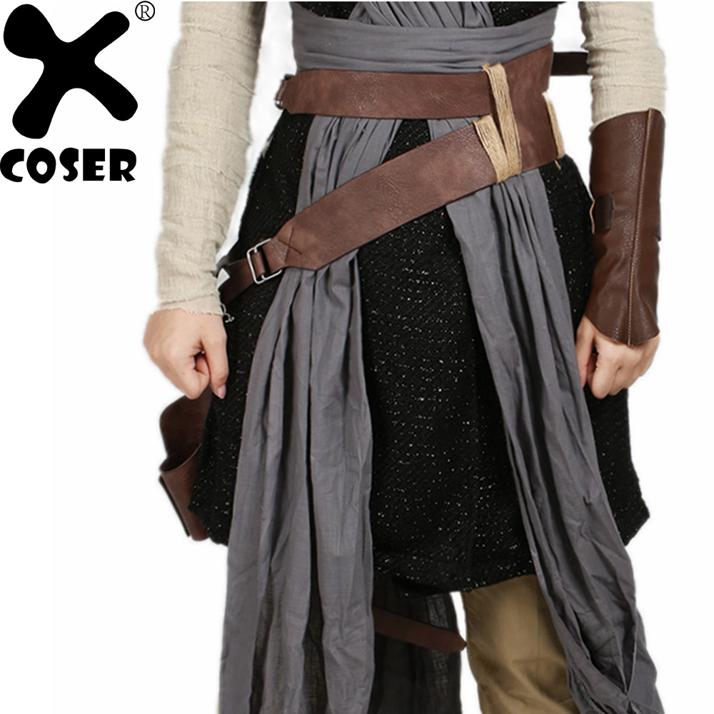 XCOSER Star Wars Episode VIII The Last Jedi Rey Brown PU Faux Leather Belts Cosplay Props Halloween Costume Accessory Waistband