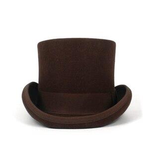 Image 2 - 5 màu sắc Top Hat 15 cm 4 Kích Thước Len Phụ Nữ Người Đàn Ông Top Fedora Hat Ảo Thuật Cà Phê Steampunk Cosplay Punk Đảng mũ Dropshipping