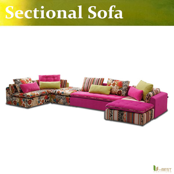 U Best Modern Pink Fabric Sofa Couch Sectional Set Living