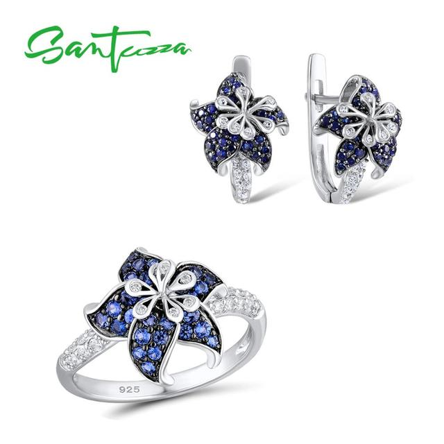 SANTUZZA Silver Flower Jewelry Set Blue White CZ Ring Earrings Set Authentic 100% 925 Sterling Silver Fashion Jewelry Set