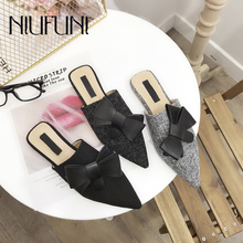 Pointed Fashion Solid Color Bow Sexy Women's Slippers Flat Shoes NIUFUNI New Simple Mules Shoes Slip Ons Casual Outdoor Sandals недорого