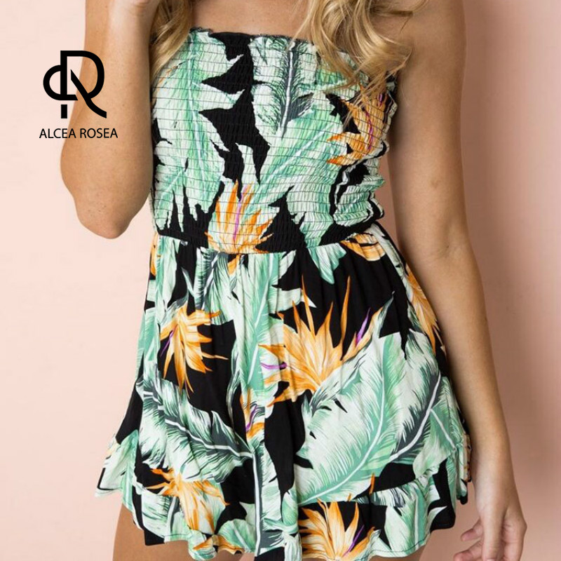 Alcea Rosea Casual Playsuits for Women Spring Summer with Ruffles Strapless Top and Shorts Bottom Sexy 2018 New Leaf Print AR655