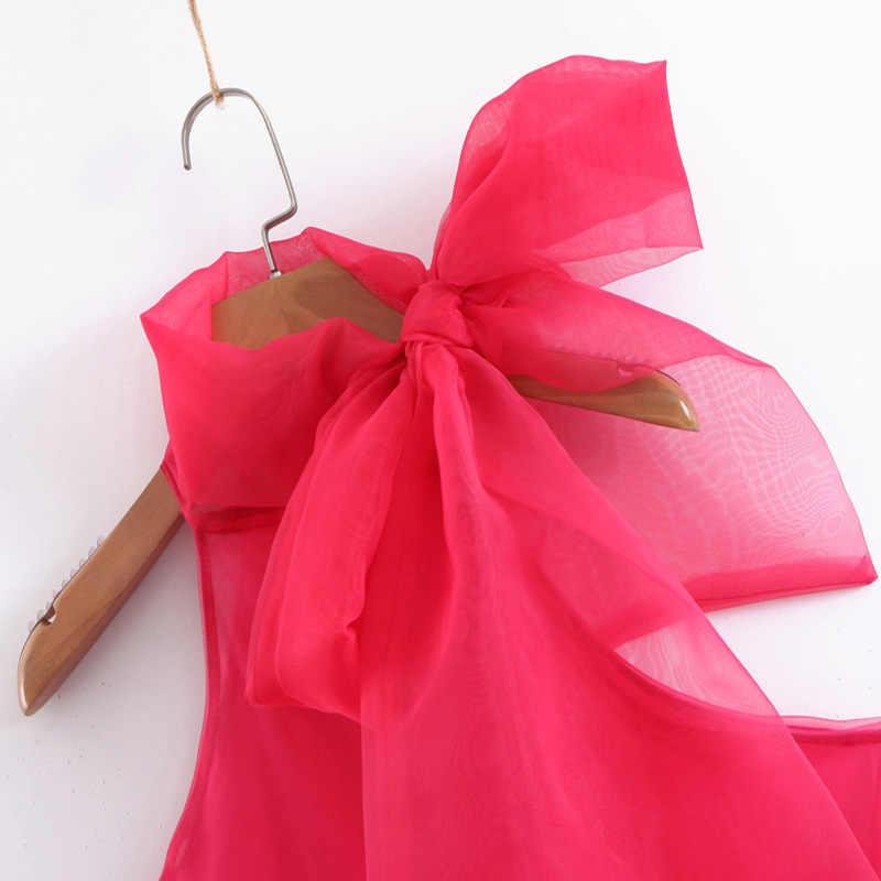 Короткие блузки с узлом на воротнике женские сетчатые Топы женские летние блузки без рукавов Женские кимоно, рубашки Mujer блузки женские 2019