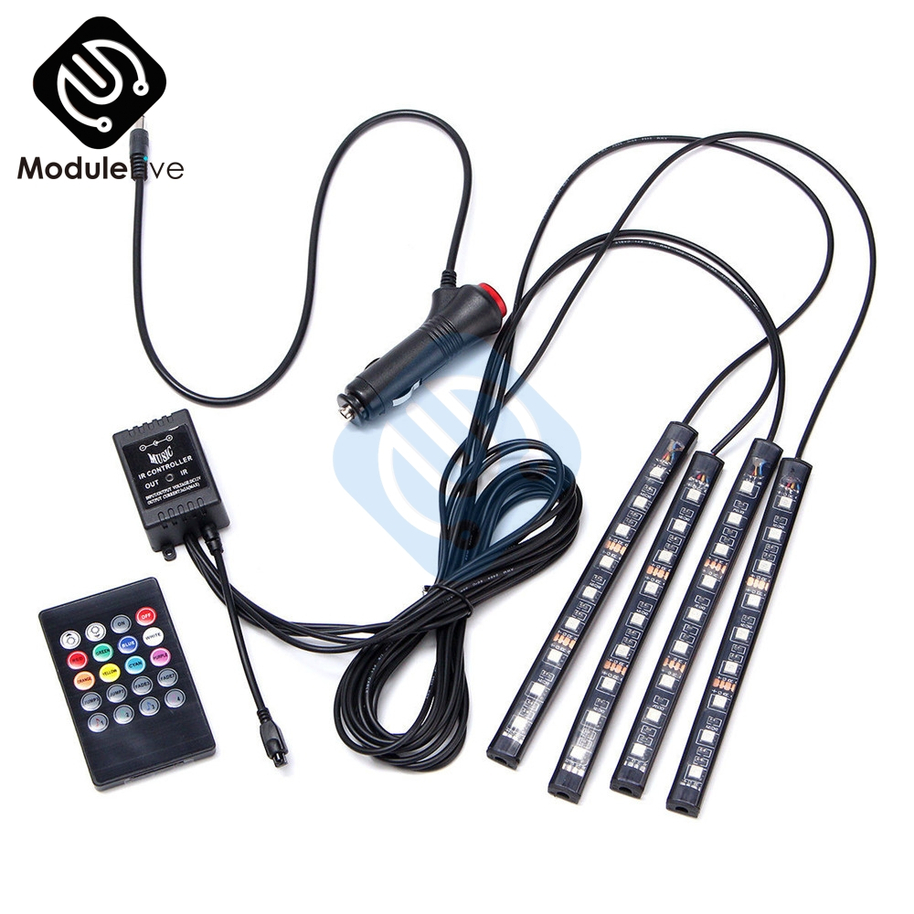 HTB1FyvEXlGw3KVjSZFwq6zQ2FXau Auto Interni RGB Color 9 LED Strip Light Kit Wireless Music Control Automatic Controller 7 color For Atmosphere