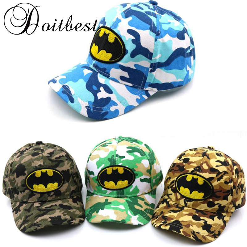 2018 Spring Child Iron Man Batman Baseball Cap Camouflage Summer kids Sun Hat Boys Girls snapback Caps age for 2-9 years old wholesale child fanny sunglasses 2016 brand new korean sun glasses for girls boys glases