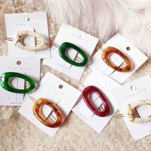 Korea Japan Style Acetic Acid Acrylic Resin Hairpins Women Fashion Hair Accessories Hollow Geometric Oval Clips Hairgrips