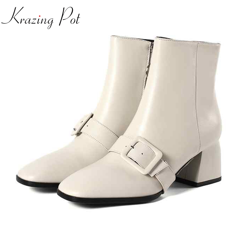 Krazing Pot genuine leather square toe circularity zipper decoration high heels streetwear model catwalk women ankle boots L63Krazing Pot genuine leather square toe circularity zipper decoration high heels streetwear model catwalk women ankle boots L63