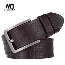 MEDYLA Fashion checkered mens belt quality natural cowhide no interlayer for men Casual business brand MD15 Dropship