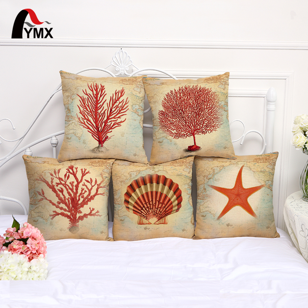 2017 New Sea Style Printing Cushions Cover Cotton and Linen Marine life Car Sofa Pillow Case Living Room Bedroom Pillowcase
