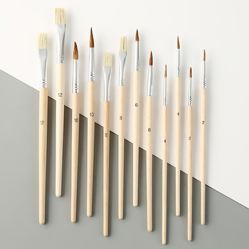 12 Wood Artist Paint Brush Suits + Wood Palette Nylon Hair Watercolor Acrylic Painting Brush Artistic Supplies 12 wood artist paint brush suits wood palette nylon hair watercolor acrylic painting brush artistic supplies