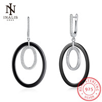INALIS Simple Fashion Fine Jewelry Black White Ceramic CZ 925 Sterling Silver Dangle Earrings Wedding Party