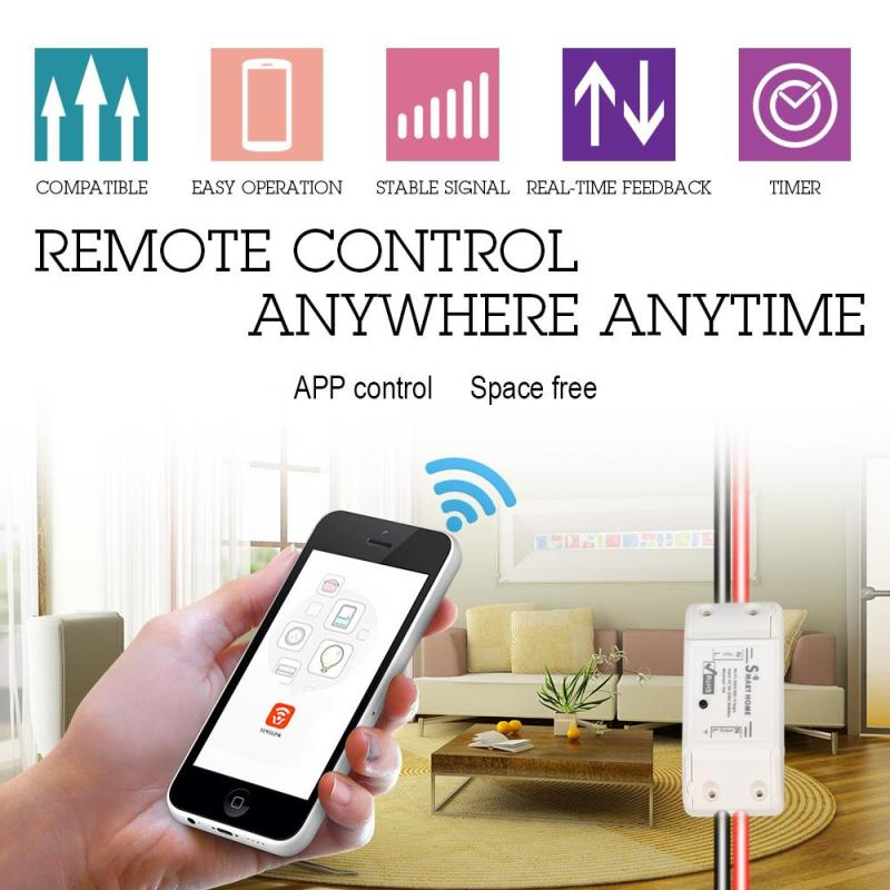 AC 220V 10A WIFI Switch 1 Way Remote Control Smart Home Light Lamp LED Switch Intelligent Timer Wall Wifi Switch For IOS Andriod ac 180 240v double key wall switch remote control 10a relay smart home ceiling lamp light led bulb remote control switch