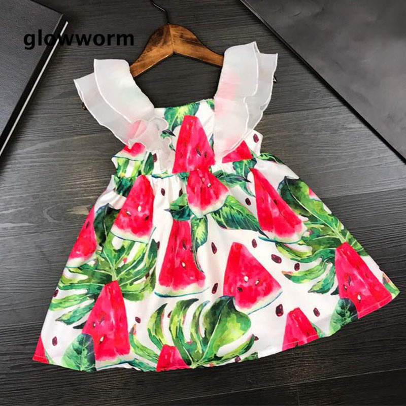 GlowwormKids Summer 2018 Runway Girls Dress Watermelon Printing Pattern Flouncing Sleeve Girls Clothing 2-7T hs056 4pcs universal aluminum car tyre air valve caps bicycle tire valve cap car wheel styling round alloy caps 16 x 10 x 10mm