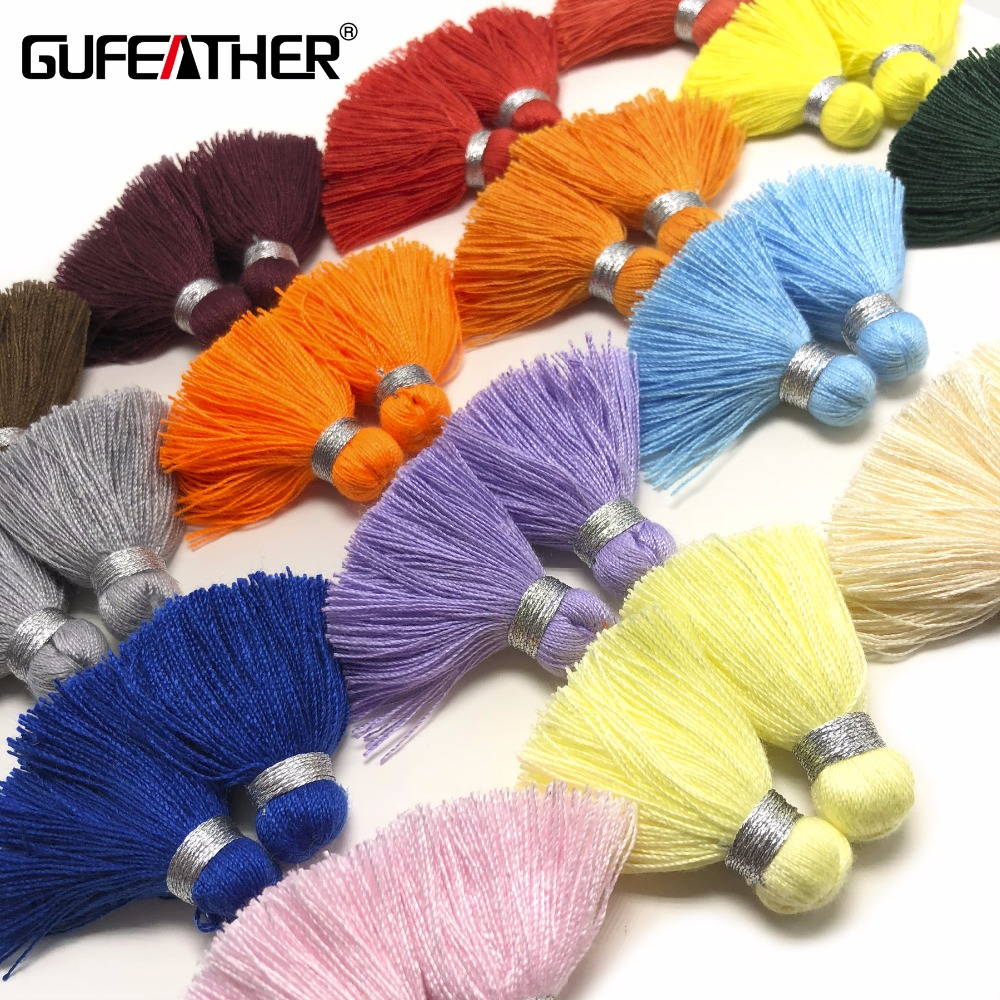 GUFEATHER L120/4cm/jewelry Accessories/Silver Wire Tassel/jewelry Making/diy Cotton Tassel/Earrings Fringe Production/4pcs/bag
