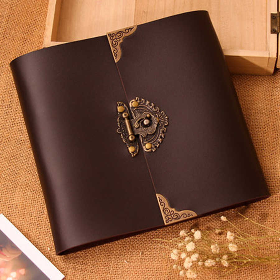 Leather Vintage Photo Album Scrapbooking Diy Wedding Photo Album Baby Grow Kids Stickers Romantic Gifts For Boyfriend Decoration