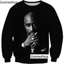 Liumaohua Pullover Hip Hop Rock cantante hombres mujeres sudadera Hoodies 3D  impresión 2pac Tupac Shakur manga larga ropa Plus S.. fa206167200
