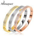 AAA Zircon 316L Titanium Stainless Steel Love Cuff Bangle Gold Plated Crystal Brand lover Charm Bracelets & Bangles For Women