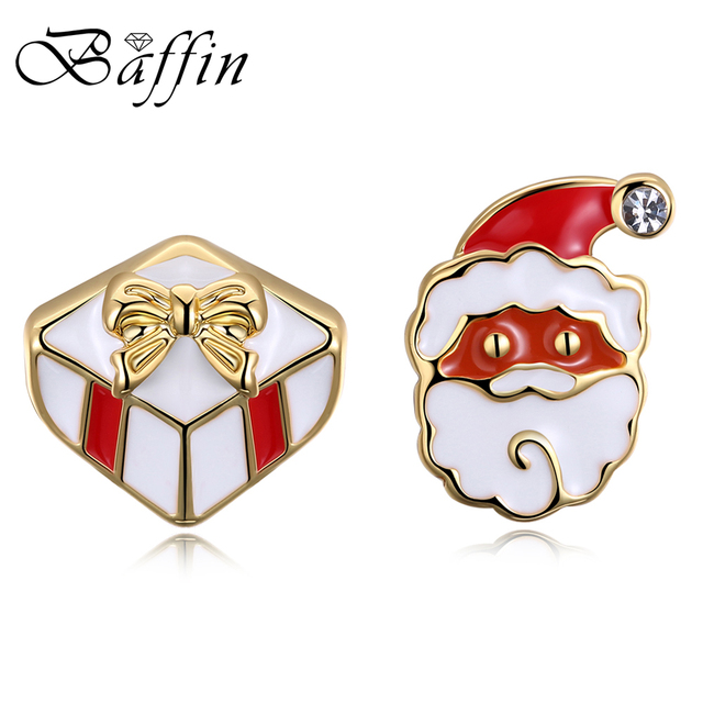 BAFFIN 2017 Christmas Jewelry Gold Color Santa Claus Stud Earrings Red Oil Drop Piercing For Kids Party Accessories Wholesale