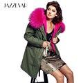 Jazzevar mujeres ejército verde color de gran tamaño de piel de mapache con capucha parkas outwear largo forro desmontable chaqueta de invierno estilo de la marca