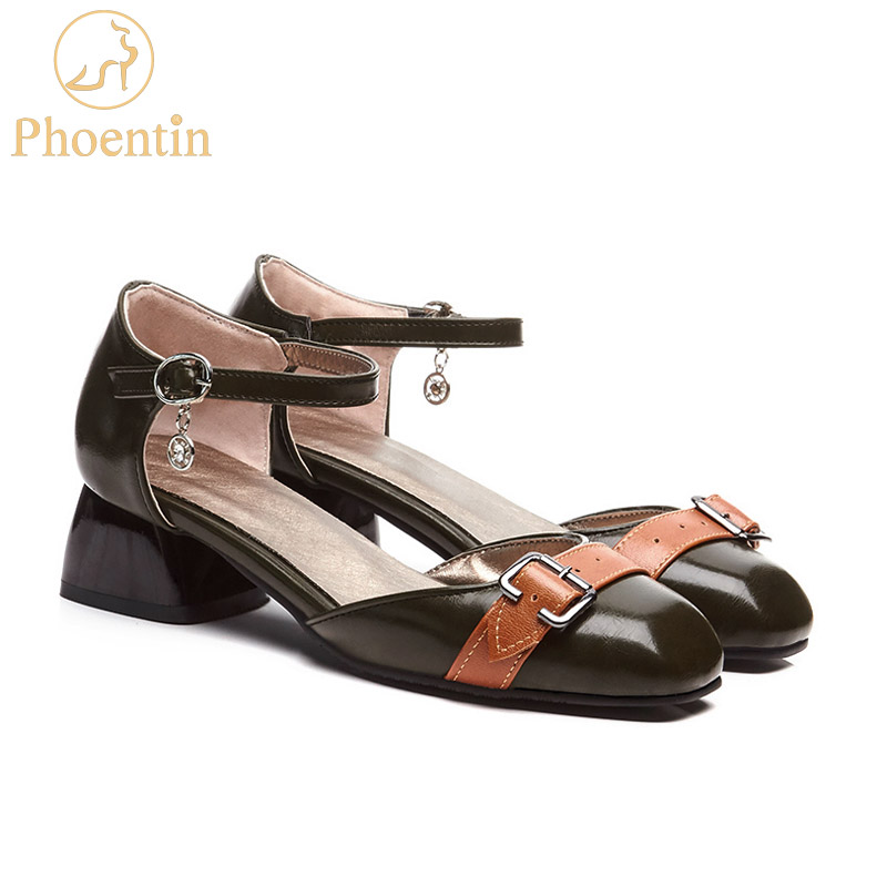 Phoentin dark green woman sandals with buckle ankle strap sandals ladies med square heels concise shoes women summer 2019 FT383