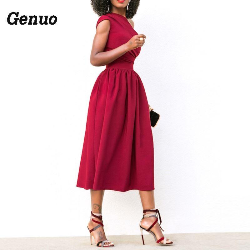 Elegante Fiesta Verano Un Vestido Mujer Negro Cóctel Boda Midi Grande Sexy Vintage De Talla rojo azul Hombro Ajustado wdvq7wI