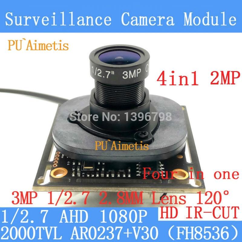 PU'Aimetis 2MP 1920*1080 AHD CCTV 1080 P 4in1 Caméra Module 1/2. 7 2000TVL 3MP 2.8mm large-angle 120 degrés caméra de surveillance