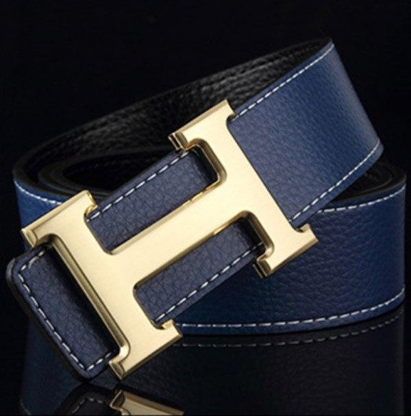 Men   Belt   2019 Cowhide Genuine Leather   Belts   for Men Fashion Smooth Buckle   Belts   With Letter H wo'men   Belts   Cinturones Hombre
