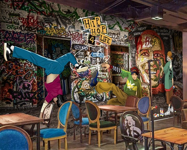 Free Shipping Retro Graffiti Hip Hop Rock Music Bar Ktv Mural