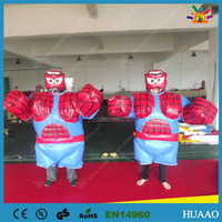 Free shipping Spiderman Inflatable Sumo suits wrestling for kids with PVC ground sheet