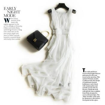 цена на Bogeda Silk Dresses Women Natural Silk Evening Fairy Long Party Beach Holiday Dress White High Quality Clothing Free Shipping