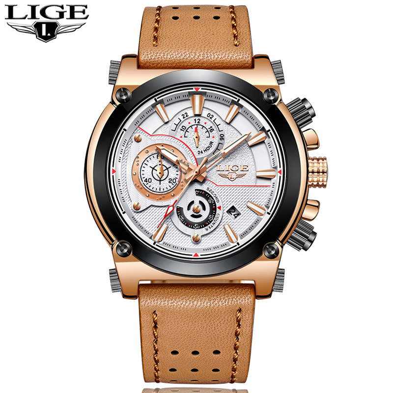 New LIGE Mens Watches Top Brand Luxury Quartz Gold Watch Men Casual Leather Military Waterproof Sport Watch Relogio Masculino new mens watches top brand naviforce luxury men quartz watch casual sport military watches male leather clock relogio masculino