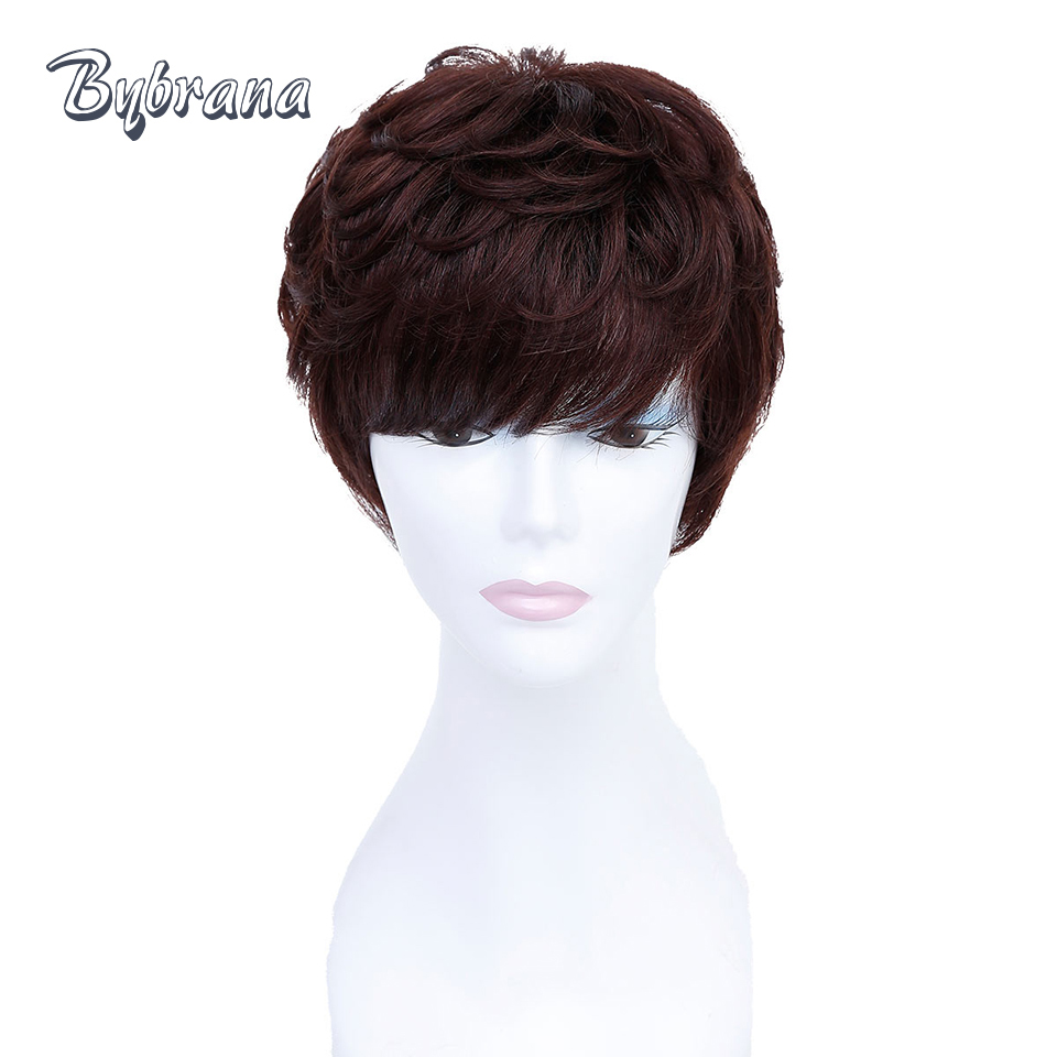 Bybrana Pendek Rambut Manusia Wig Dengan Rambut Bayi Brasil Remy - Rambut manusia (untuk hitam)