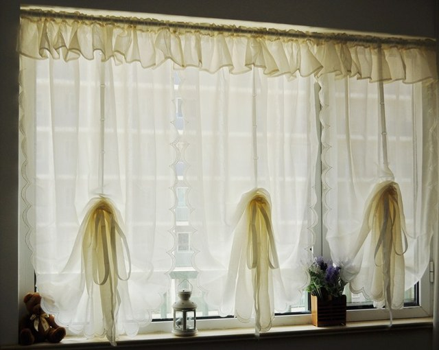 Vintage Style Ruffled Screens Curtain Waterfall Cream Color Balloon Curtain  Finished Kitchen Curtain