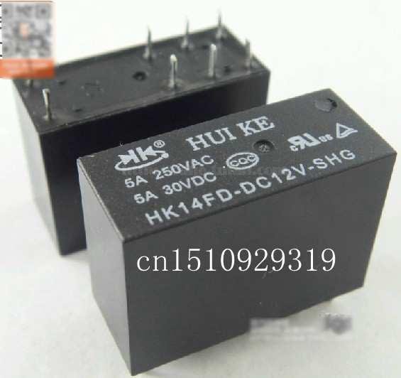 Pengiriman gratis 10 pcs/lot daya estafet HK14FD-DC12V-SHG 5A8 kaki 250 V yang universal G2R-2 12 V ...